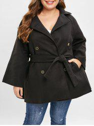 Plus Size Double Breast Coat with Belt -