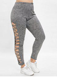 Plus Size High Waisted Leggings with Lattice -