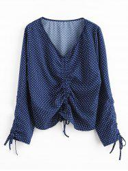 Plus Size Long Sleeves Polka Dot Cinched Top -