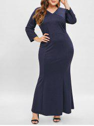 V Neck Plus Size Fitted Maxi Dress -