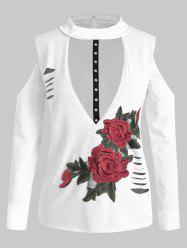 Plus Size Long Sleeves Embroidered Cutout Ripped Tee -