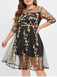 Plus Size Mesh Embroidered Sheer Flare Dress -
