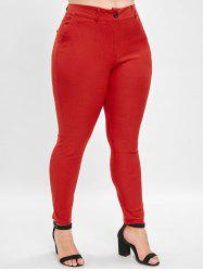 Plus Size High Waist Straight Pants -