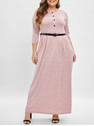 Plus Size Button Detail Belted Maxi Dress -