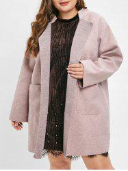 Plus Size Button Fly Longline Coat with Pockets -