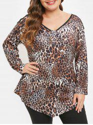 Plus Size Long Sleeves Criss Cross Leopard Tee -