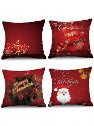 4PCS Merry Christmas Ball Printed Pillow Cover -
