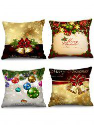 4PCS Merry Christmas Bell Ball Printed Pillow Cover -