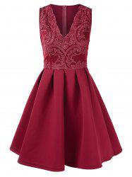 Lace Panel V Neck Fit and Flare Dress -