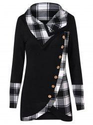Turtleneck Tartan Asymmetrical Sweatshirt -