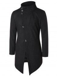 Asymmetric Stand Collar Button Up Coat -