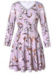 Plus Size Cinched Floral Flare Dress -