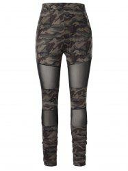Плюс размер Camo Print Mesh Panel Leggings -