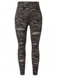 Plus Size Fishnet Panel Camo Print Skinny Pants -