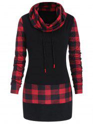 Plus Size Long Sleeves Plaid Panel Tee -