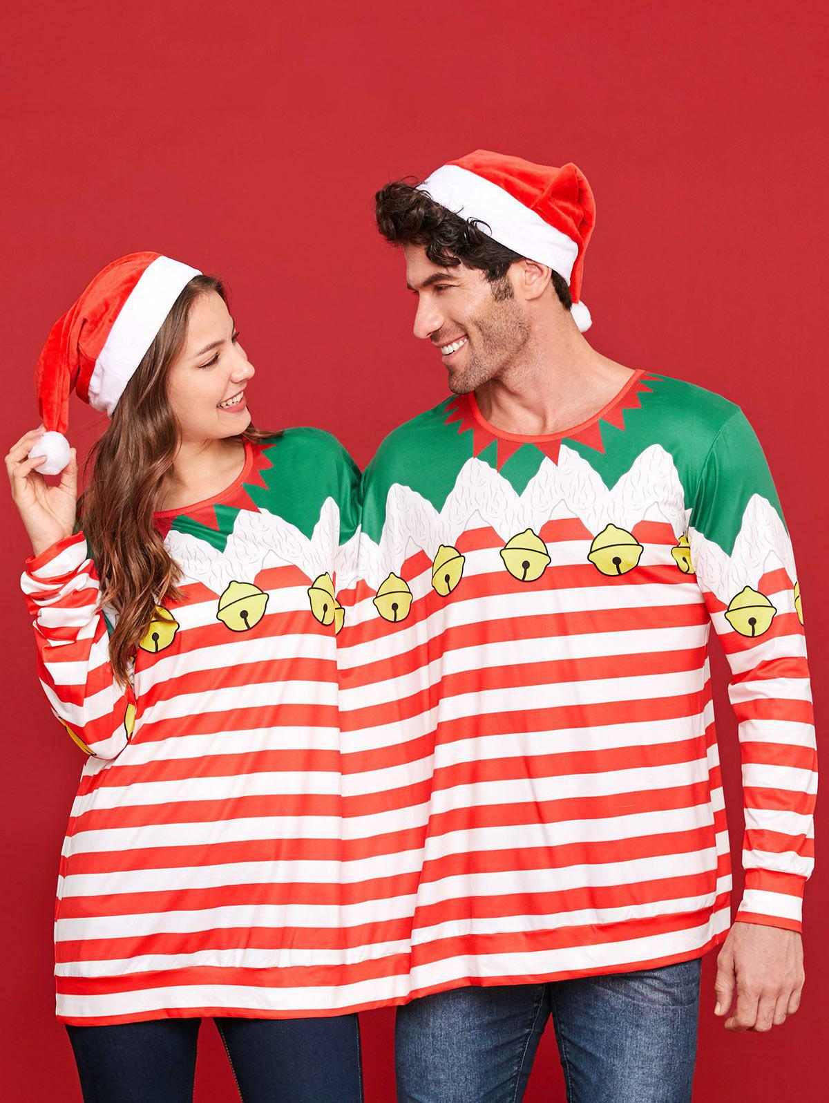 Affordable Two Person Christmas Long Sleeve Stripe T-shirt Pajamas