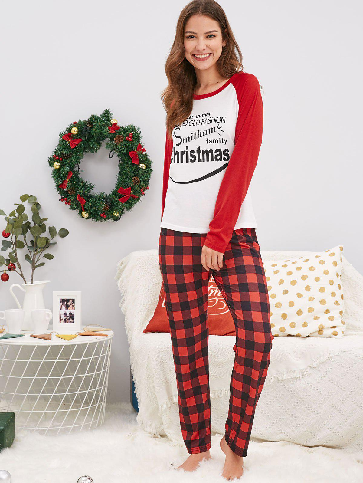 Christmas Letter Print Family Pajamas - Mom M b8f1550e4