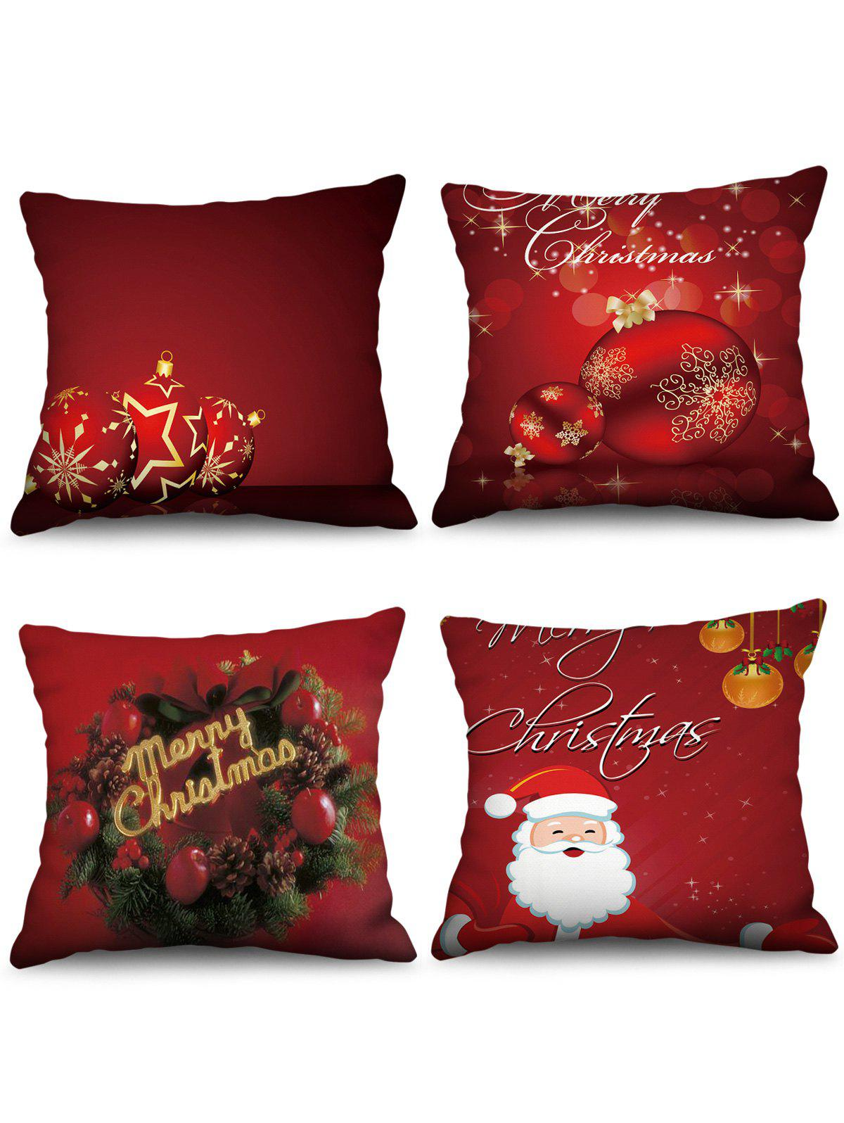 Hot 4PCS Merry Christmas Ball Printed Pillow Cover