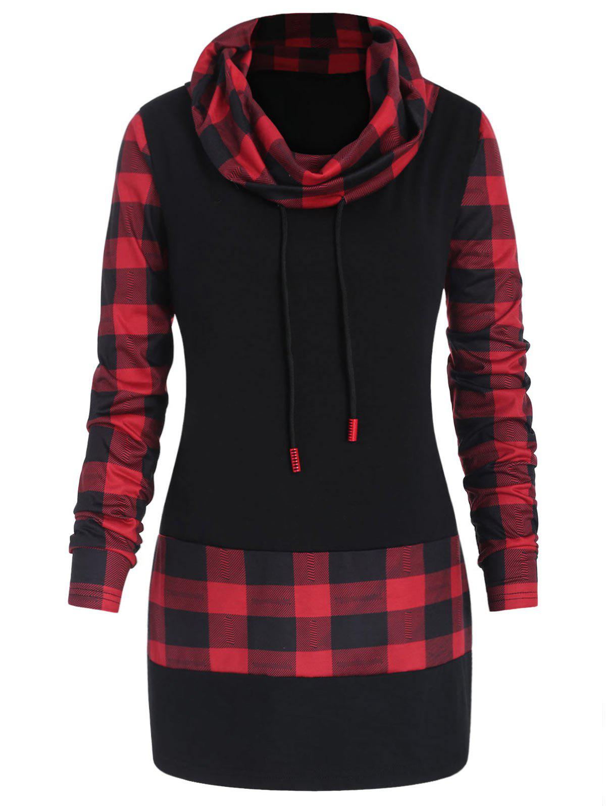 Fancy Plus Size Long Sleeves Plaid Panel Tee