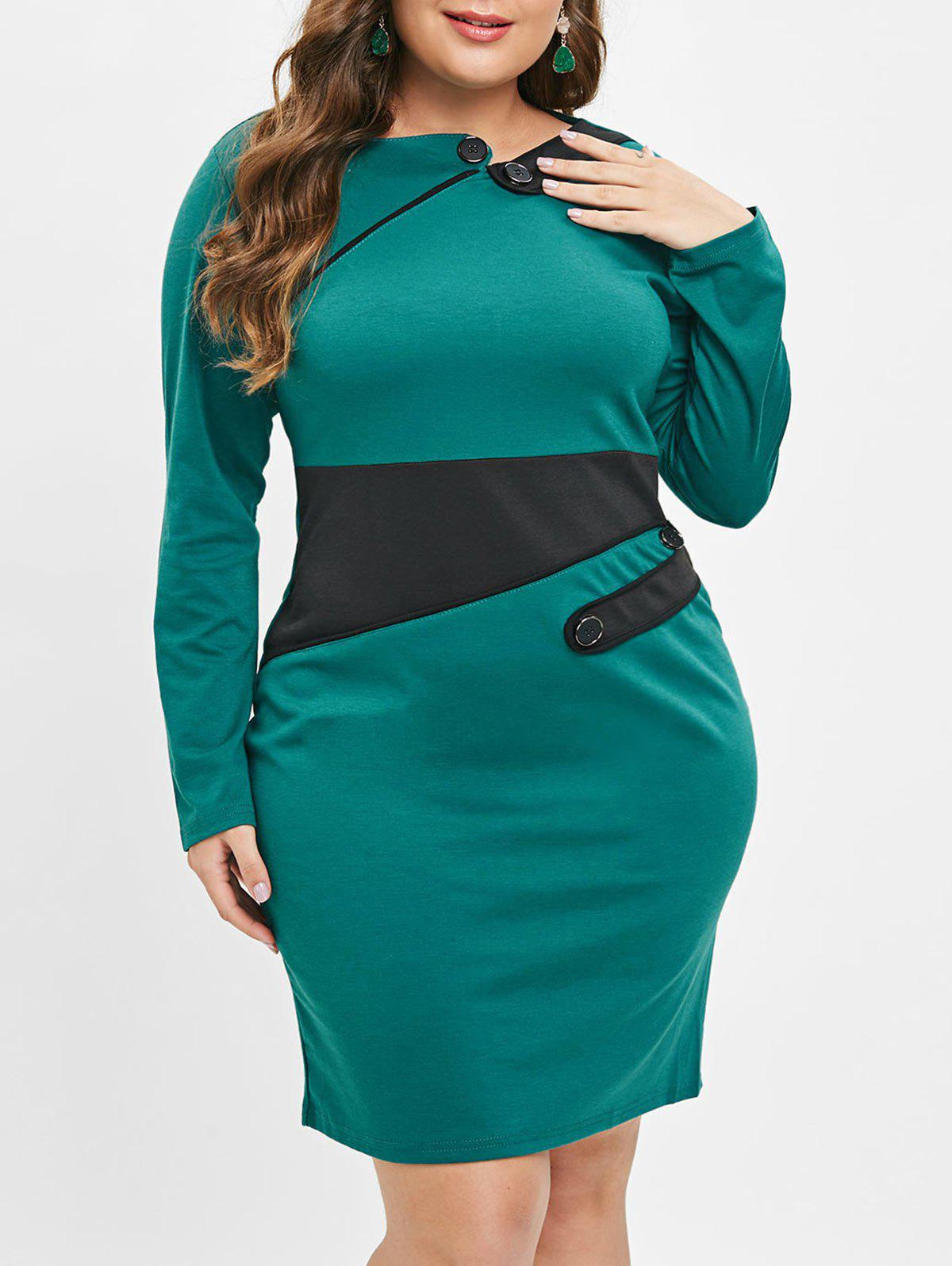 2019 Plus Size Color Block Sheath Dress | Rosegal.com