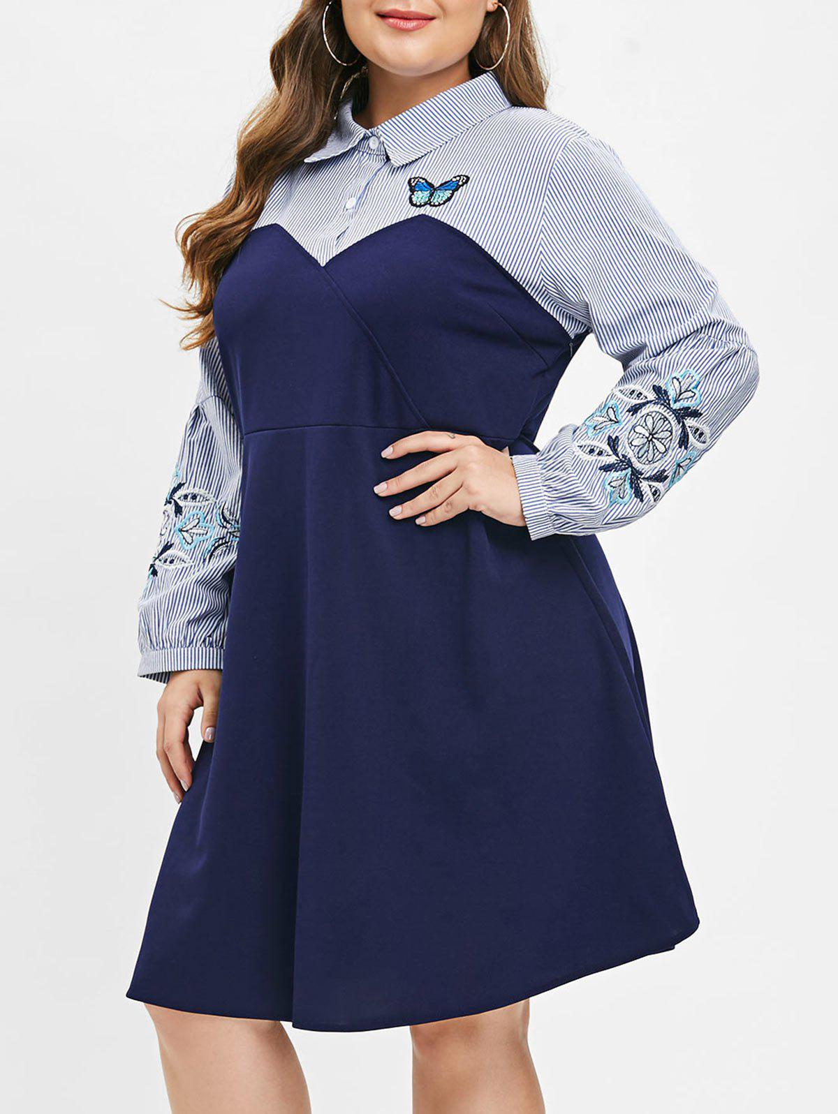 Latest Plus Size Embroidered Shirt Dress