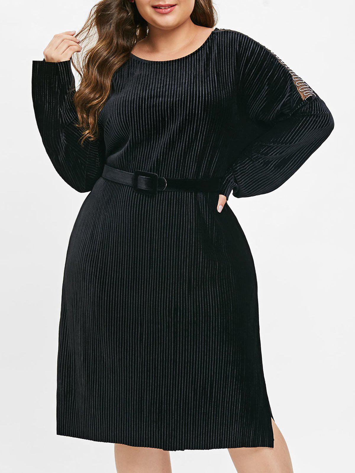 Outfits Plus Size Chains Shoulder Belted Velvet Dress