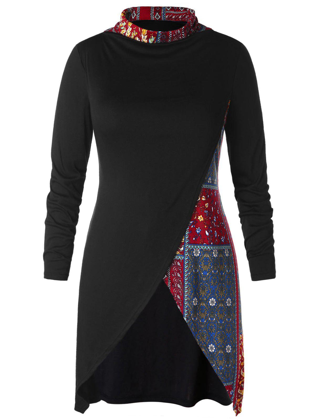 Ethnic Print Plus Size Tunic T-shirt, Black