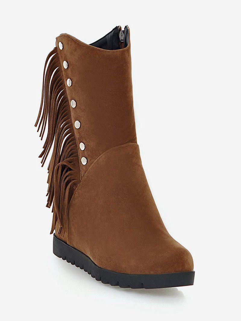 Store Plus Size Hidden Wedge Fringed Mid Calf Boots