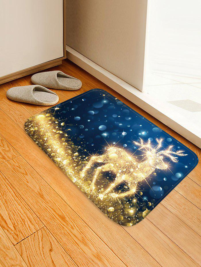 Unique Christmas Starlight Elk Pattern Water Absorption Area Rug