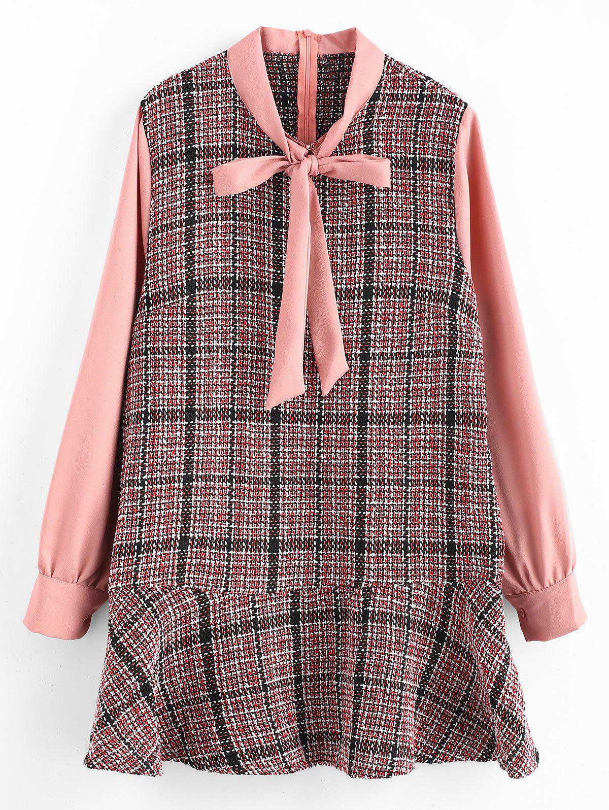 Online Plus Size Drop Waisted Plaid Dress with Tie