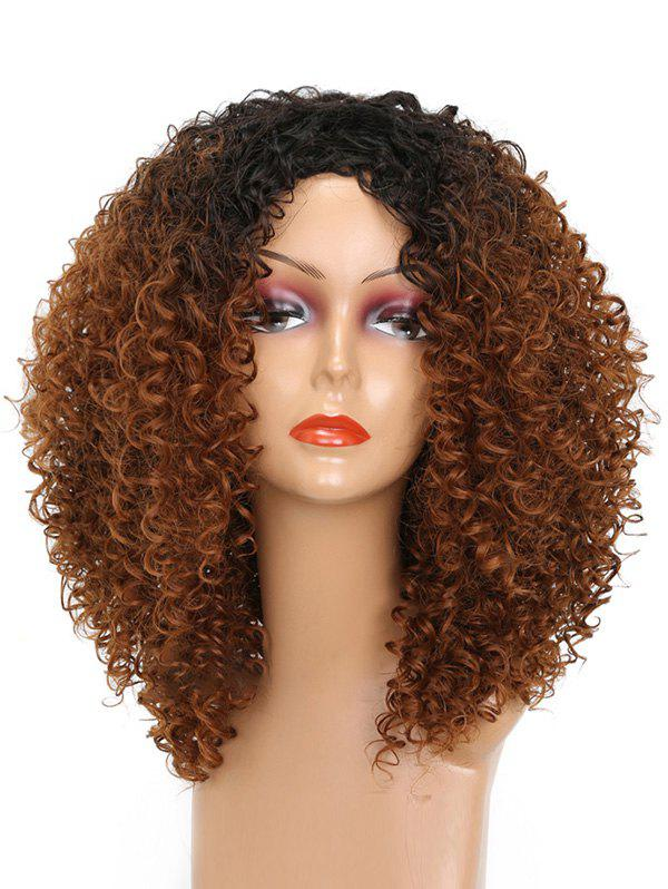 Cheap Side Bang Colormix Medium Kinky Curly Synthetic Wig