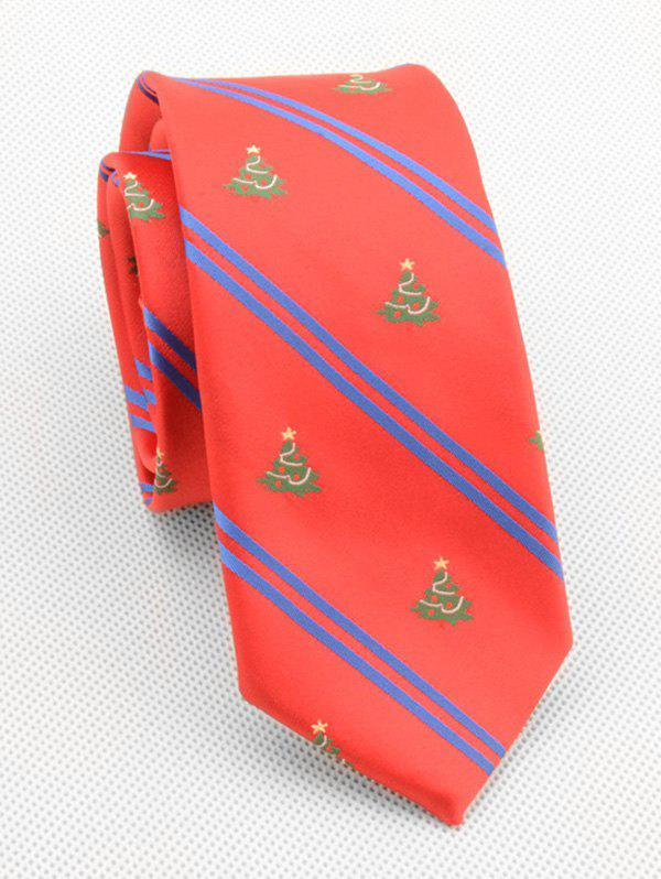 Online Christmas Tree Striped Print Neck Tie