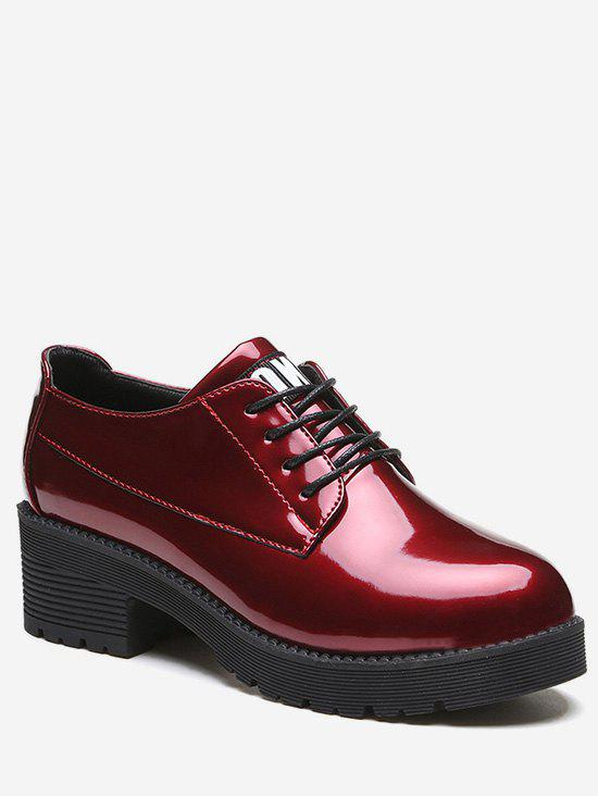 Fashion Lacing Chunky Heel Patent Leather Shoes