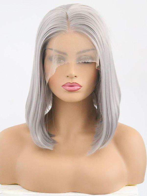 Chic Medium Center Parting Straight Bob Synthetic Lace Front Wig