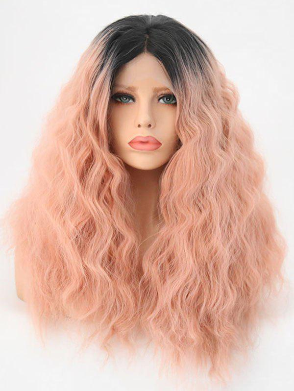 Best Middle Part Long Fluffy Colormix Corn Hot Wavy Lace Front Synthetic Wig