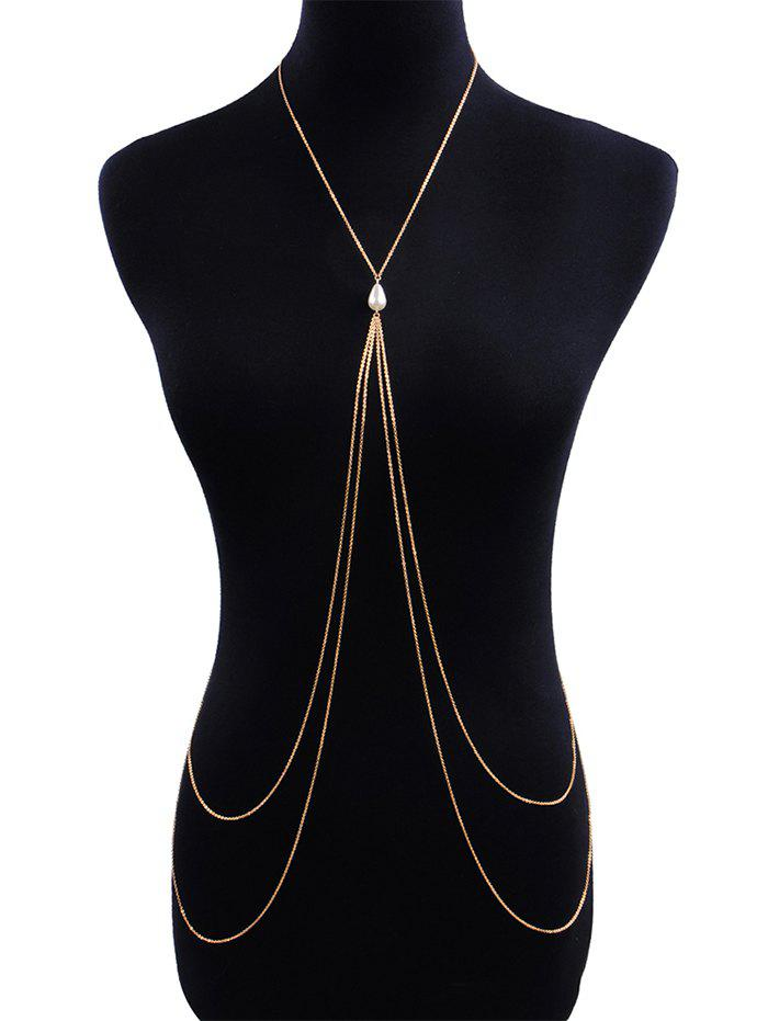 Store Faux Pearl Cross Layered Body Chain