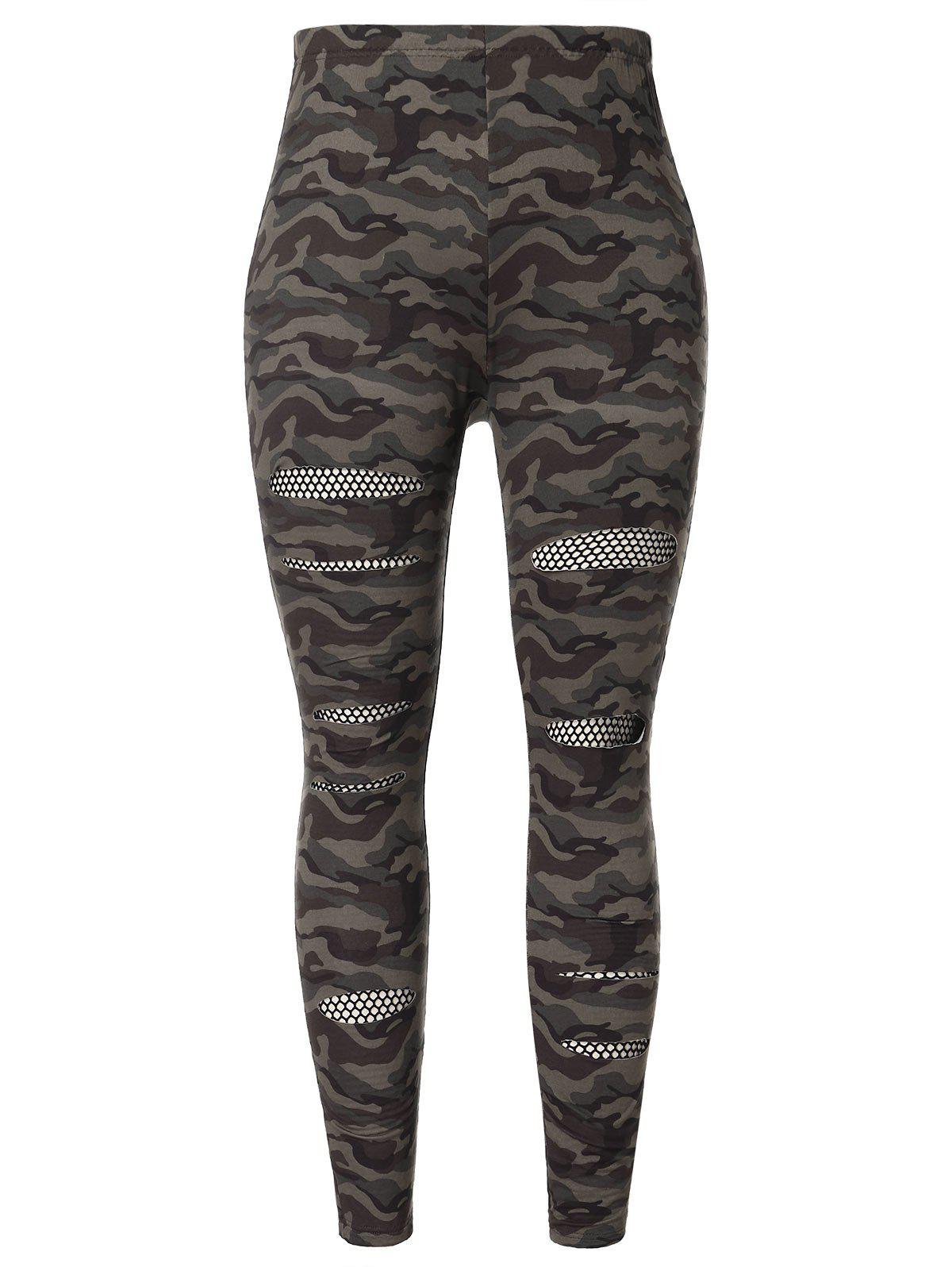 Плюс размер Fishnet Panel Camo Print Skinny Pants