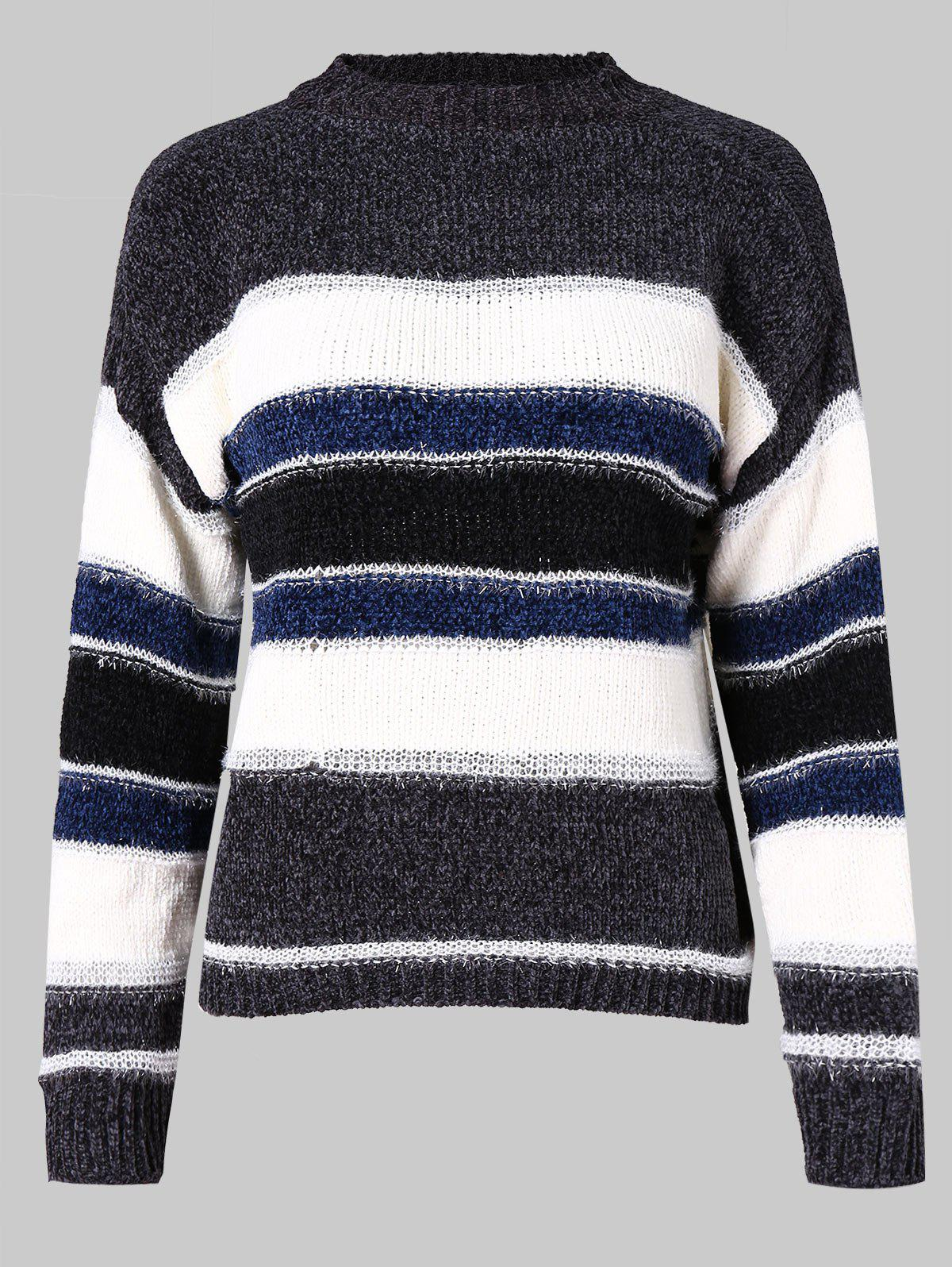 f263f0f0389c 57% OFF   2018 Color Block Knitted Striped Sweater In Dark Gray M ...