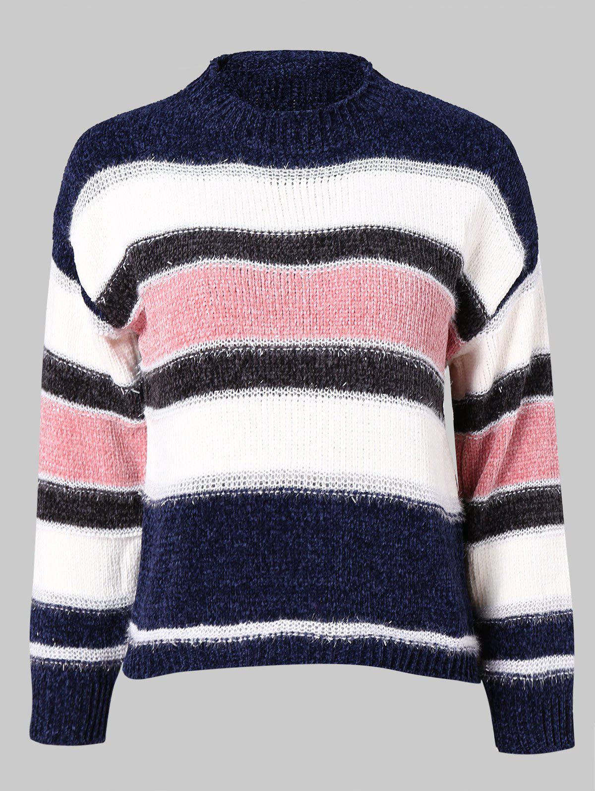 1066ea181ab9 57% OFF   2018 Color Block Knitted Striped Sweater In Deep Blue M ...