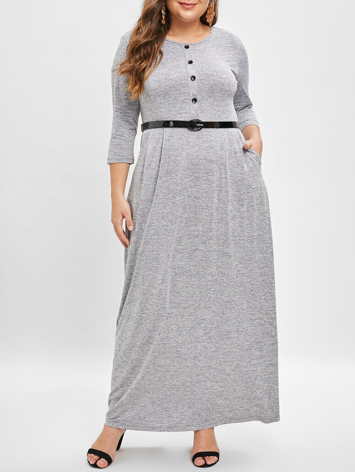 Cheap Plus Size Button Detail Belted Maxi Dress
