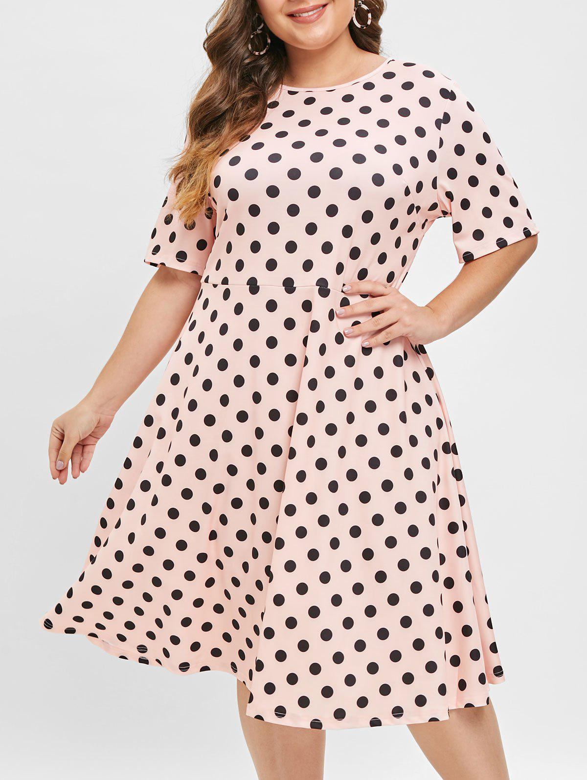 Sale Polka Dot Plus Size Round Neck A Line Dress
