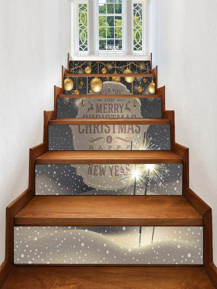 Discount Christmas Balls Blessing Pattern Removable Stair Stickers