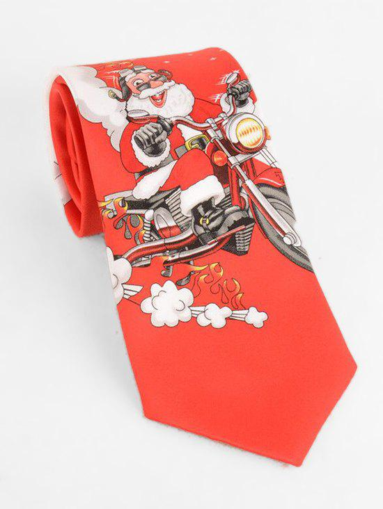 Store Santa Claus Riding Bicycle Print Neck Tie