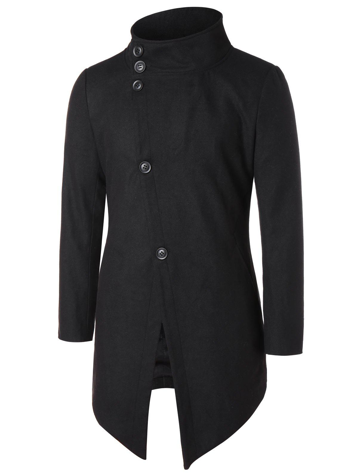 Affordable Asymmetric Stand Collar Button Up Coat