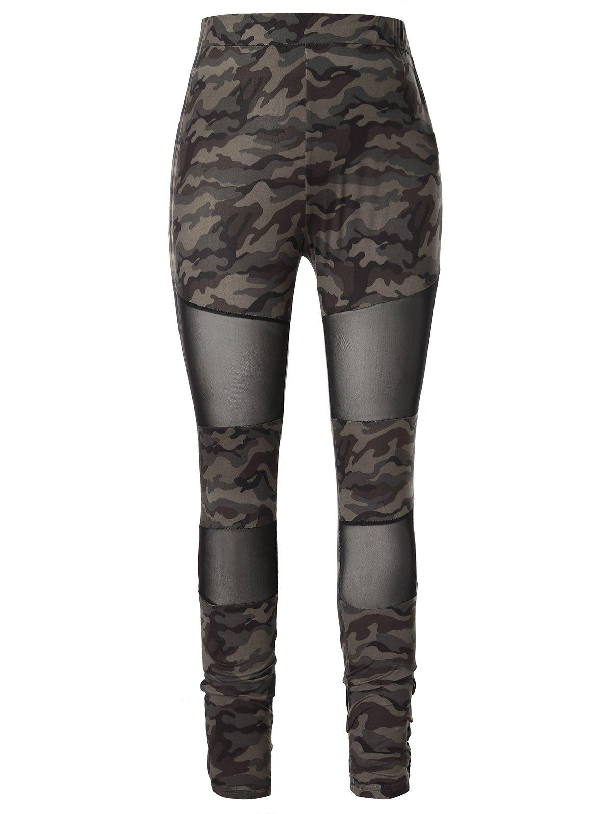 Плюс размер Camo Print Mesh Panel Leggings