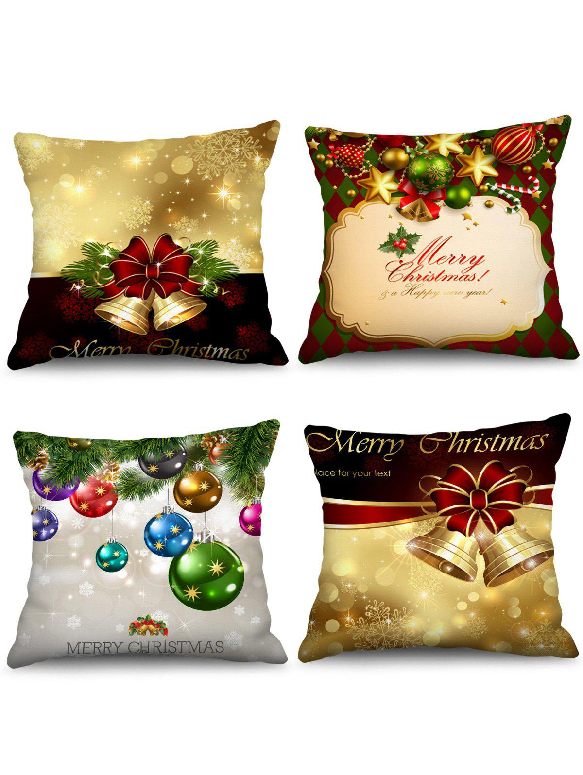Fashion 4PCS Merry Christmas Bell Ball Printed Pillow Cover
