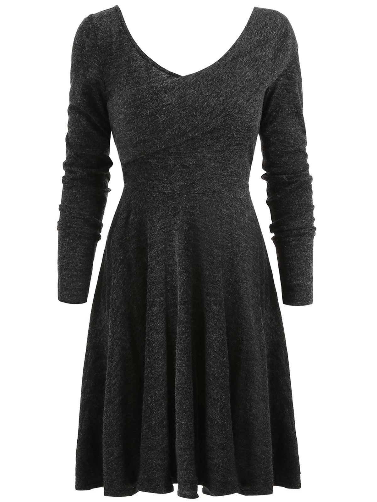 Chic Flexible Collar Sweater Dress