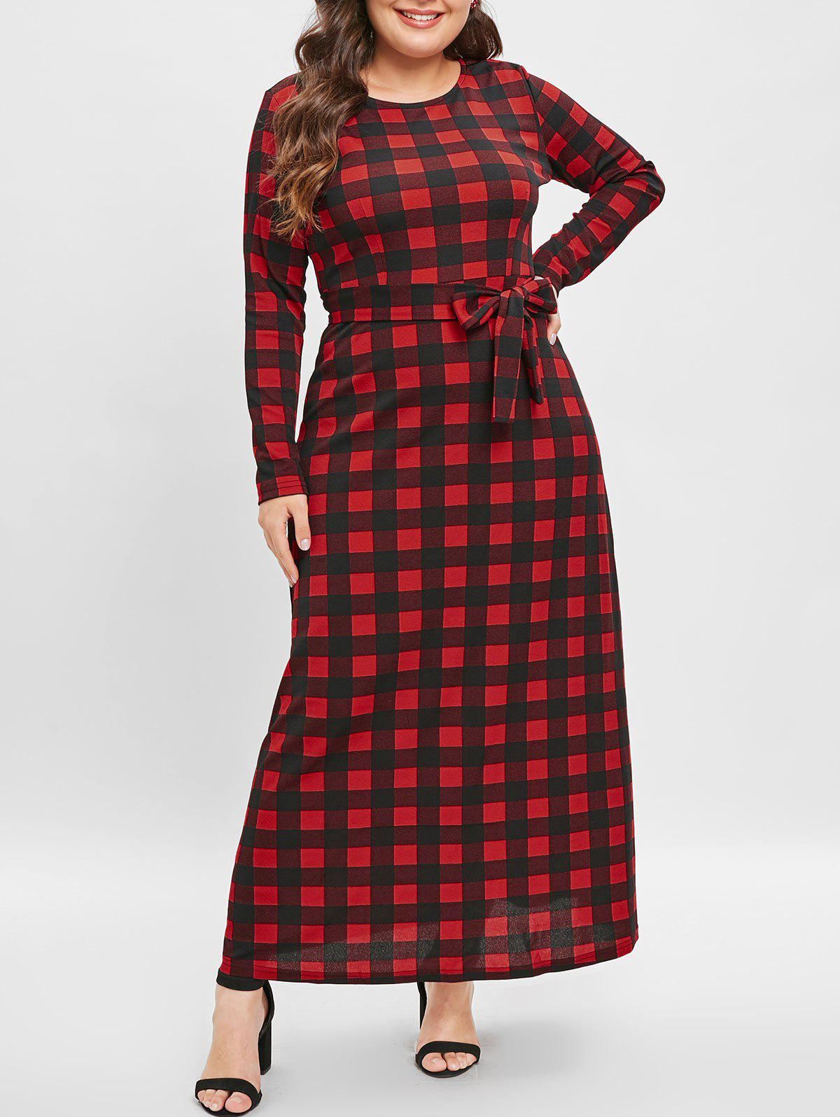 Shops Plus Size Belted Plaid Maxi Dress