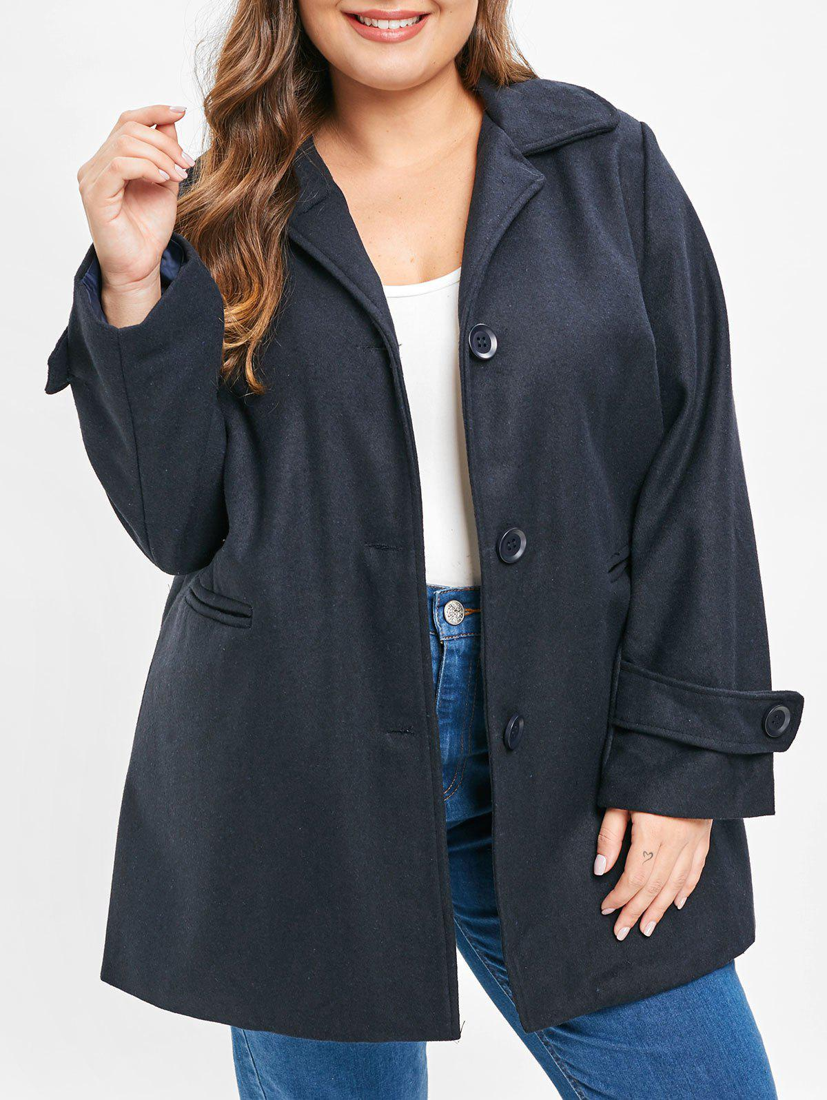 Fashion Plus Size Single Breasted Coat with Pockets