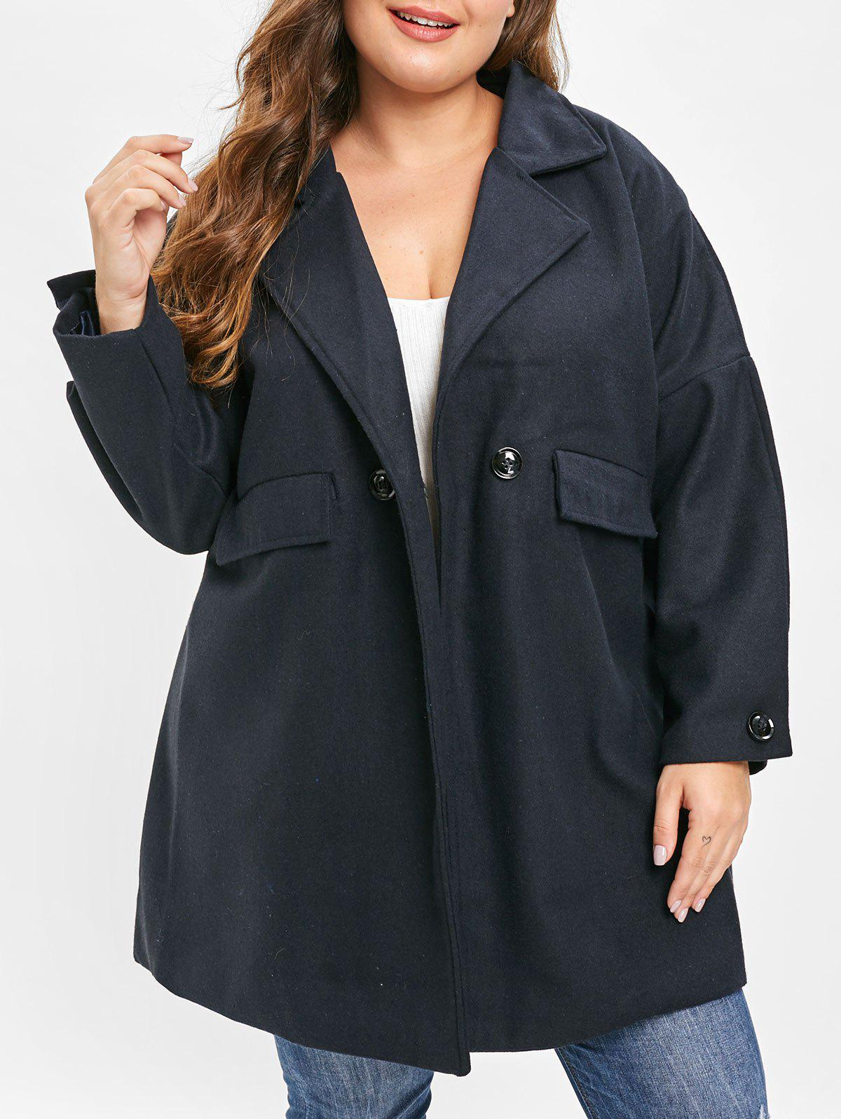 Online Plus Size Drop Shoulder Double Breasted Coat